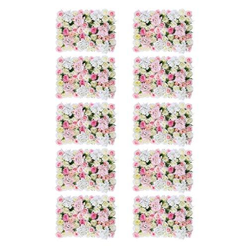 SM SunniMix 10pcs Panneaux Muraux de Fleurs Artificielles pour Fête Maison Mariage Décor, Rose et Blanc- 40 X 60cm