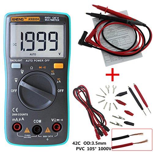 UEETEK Multímetro Digital Autorango Automático Voltímetro AC DC Amperímetro Ohmímetro Tester con Retroiluminación LCD (Azul)