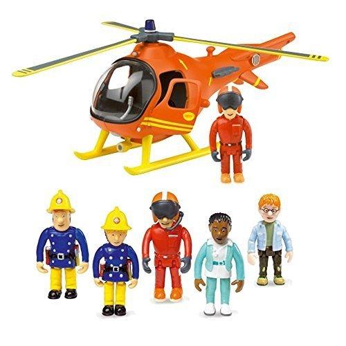Fireman Sam Rescate de Montaña del helicóptero y 5 Figura Articulada Set