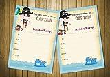 20 tarjetas de invitación para fiestas de cumpleaños para niños pirata - azul