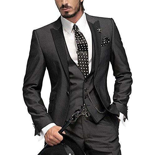 GEORGE BRIDE Herren Anzug 5-Teilig Anzug Sakko,Weste,Anzug Hose,Krawatte,Tasche Platz 002,M