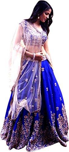 Lehenga Choli(Suppar sleave Womens Royal Blue Tafeta Silk Lehenga Choli (Suppar _Blue...