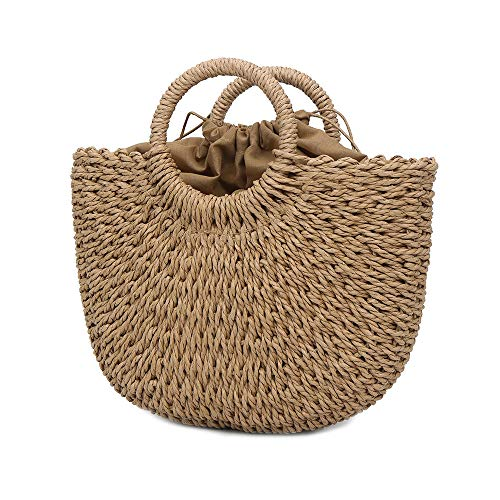 Baumwolle Stroh Tote (PeiQila Frauen Stroh Strandtasche, handgewebte Tragegriff Tasche große Kapazität Retro Sommer Wicker Taschen)