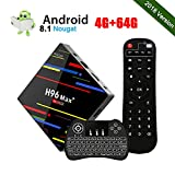 [Android 8.1] 4GB+64GB Smart TV Box 4K Ultra HD H96 Max+ TV Box RK3328 Quad-Core 64bit CPU 2.4G/5GHz WiFi 100M LAN Ethernet H.265 Bluetooth 3D Set Top Box mit Mini Wireless Backlit Keyboard