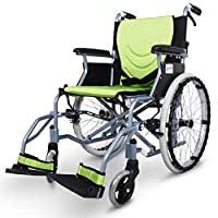 EMOGA Lightweight Folding Wheelchair,11.5Kg Portable,43Cm Seat With Nursing Brakes And Two-Hand Brake,Aluminum Alloy,Green