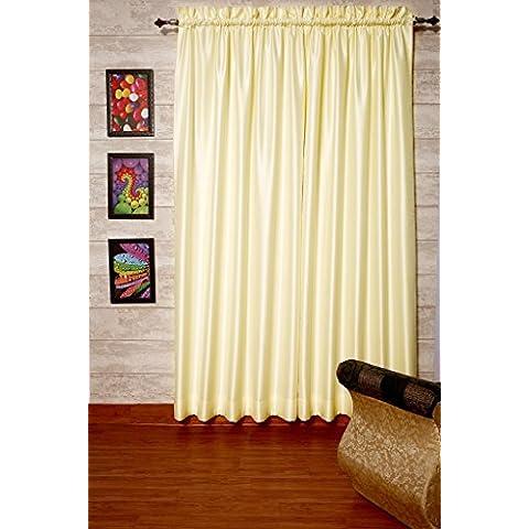 Marfil satén de seda Dupioni sintética cortinas, elección de piezas, anchura y longitud elección con forros opacos por zappycart., 78