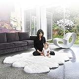 Schaffell Teppich Verwendbar Für Wohnzimmer Matratzen Wollmatte 5-6cm Haarlänge (kann Rheumatismus Effektiv Verbessern),White-200 * 150cm(78.7''*59'')