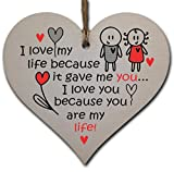 Best Birthday Gifts For Boyfriends - Handmade Wooden Hanging Heart Plaque Gift perfect Review