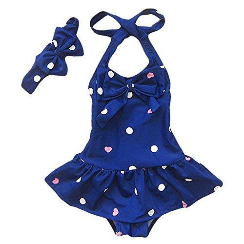 Baby Badeanzüge Mädchen Tankini Bikini Badeanzug Einteiler Badeanzug für Kinder Polka Dots Schwimmanzug Bademode Blau S:1-2 Jahre
