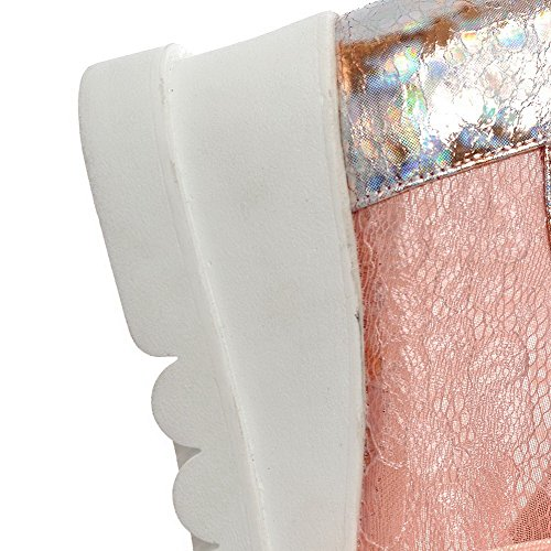 VogueZone009 Femme Lacet à Talon Correct Matière Mélangee Couleurs Mélangées Carré Chaussures Légeres Rose