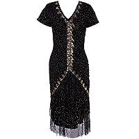Vijiv Women's Vintage Style 1920s V Neck Flapper Dresses Beaded Sequin Roaring 20s Great Gatsby Dress Black Gold #2 Small