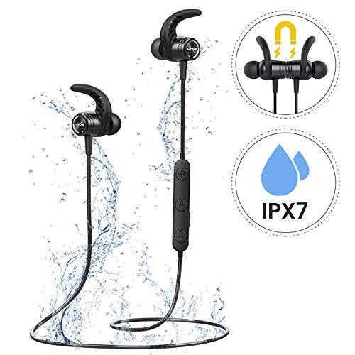 Mpow Auricolari Bluetooth Sport 4.1 Magnetici S10, Cuffie Bluetooth IPX7 Impermeabile, Auricolari Bluetooth CSR con CVC 6.0 con Microfono per iPhone, LG, Samsung, Sony, Huawei ed Altri Smartphone