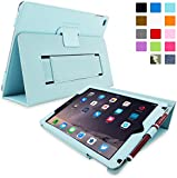 "iPad Air and New iPad 2017 9.7"" Case, Snugg - Baby Blue Leather Smart Case Cover [Lifetime Guarantee] Apple iPad Air and New iPad 2017 9.7"" Protective Flip Stand Cover with Auto Wake / Sleep"