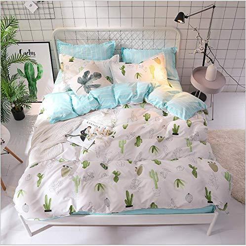 SHJIA Geometrisch Bedruckte Bettbezugset Cartoon Bettbezug Bettwäsche und Kissenbezüge Tröster Bettwäsche-Set Cremeweiß 220X240Cm