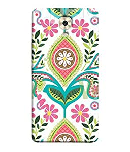 PrintVisa Designer Back Case Cover for Gionee M6 Plus (Peppy Floral Design In Green And Pink)