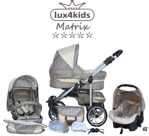 Chilly Kids Matrix II Kinderwagen Komplettset (Autositz & Adapter, Regenschutz, Moskitonetz, Schwenkräder) 02 Beige & Creme