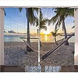 WKJHDFGB Tropical Cortinas Playa Hamaca Coco Palmeras Horizonte Costa Vacaciones Paisaje Sala De Estar Dormitorio Ventana Cortinas,215X200Cm