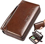 Large Wallet Clutch Long Leather Cellphone Purse Business Hand Cluth Bag Cell Phone Holster Creit Card Holder