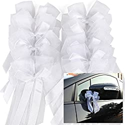 10pcs lazos de tul blanco para decorar boda