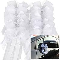 CLE DE TOUS - 10pcs lazos de tul blanco para decorar boda coche de la novia o novio