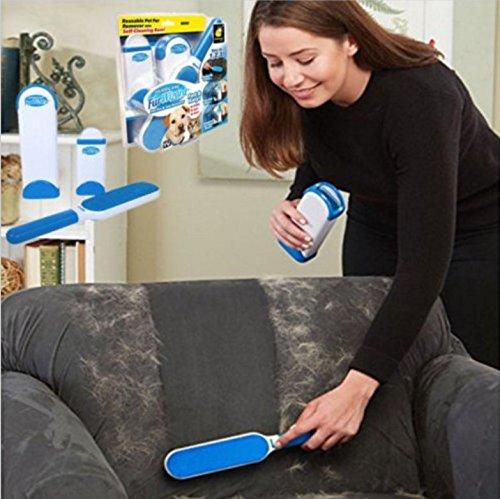 Haustier-haar-entferner . Fuss-Abbau-Bürste mit Selbstreinigungs-Unterseite - Doppelseitiger Hunde-u. Katzen-Haar-Entferner für Möbel, Couch, Teppich, - Haustier-haar-möbel-entferner