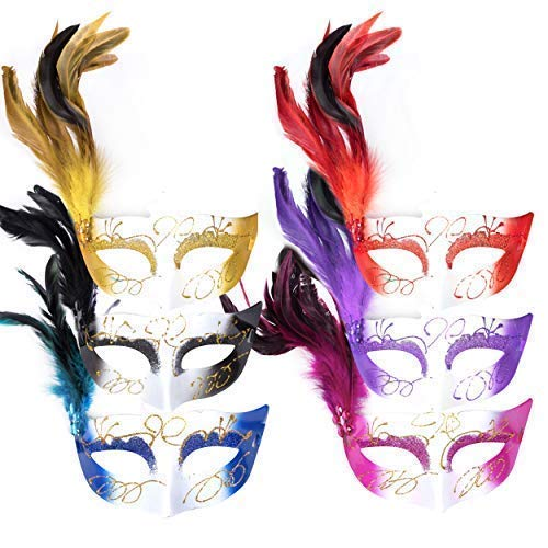 By Robelli 6 St.Erwachsene Halloween Kostüm Glitzer Feder Maskenball-Maske ()