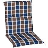 Almohada Cojines para sillas de jardín respaldo bajo karo azul gris