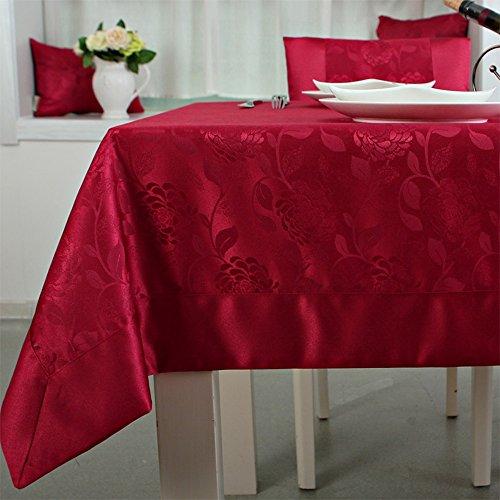 Imperméable nappe Nappe imperméable à l'eau jacquard simple Tissu en tissu Tissu rectangulaire mignon à la main rouge Tissu à café (taille facultative) (2 couleurs en option) pour dîner ( Couleur : B , taille : 140*140CM )