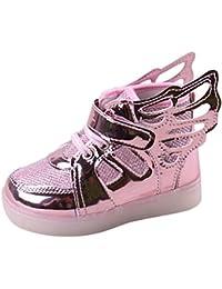 hibote Niño Niña Luz para arriba los zapatos de Prewalker del ala del ángel Solf las zapatillas de deporte rosado EU 26