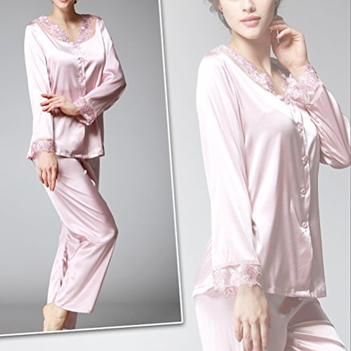 Zhhlaixing Fashion Women's Sexy Lace Satin Pyjamas Womens Long Sleeve Nightwear pink