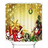 Unbekannt Weihnachten Duschvorhang Bad Vorhang 3D Vorhänge Schneeflocke Weihnachtskunst Bad Vorhang Wasserdicht,180 * 200