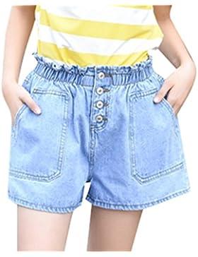 YiLianDa Donna Vintage Vita Alta Jeans Shorts Denim Pantaloncini Corti Retro