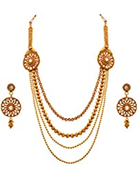 JFL - Traditional Ethnic One Gram Gold Plated Bead Polki Diamond Designer Long Necklace Set With Earring For Women...