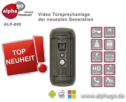 LAN IP SIP Video Türsprechanlage ALP600 - 8GB Speicher - 12V Gleichspannung - Überwachungskamera - kein Cloud Server - Fritz!Fon C4/C5 kompatibel - Steuerung über PC / Smartphone / Tablet