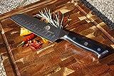 El cuchillo de cocina Dellinger Profesional Damascus Santoku 7' Cullens, VG10 – 67 capas con un mango ergonómico en un paquete de regalo