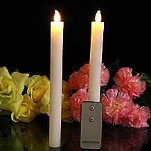 2LED realista de gotas de cera crema Taper velas con mando a distancia fiesta Iglesia LED luces por pk verde