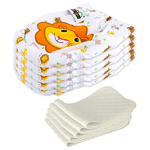 5 Stück Wiederverwendbare Waschbare Verstellbar Babywindeln Baby Windelhose Baby-Tuch-Windel Weicher Stoff Größe Verstellbar (Löwe)