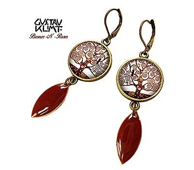 boucles d'oreilles cabochon Klimt arbre de vie bronze pendantes marron inspiration rétro