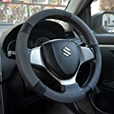 #4: Oshotto 100% Genuine Leather Car Steering Cover (Black and Grey,Medium)