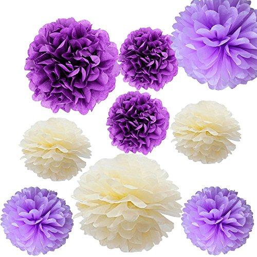 9er Set Tissue Pom Poms Papierkugel Blume für Weihnachten Hochzeit Geburtstag Party Garten Kinderzimmer Deko Viele Farben By Alxcio - Helles Lila, Dunkles Violet, Pastell-Gelb ()