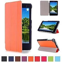 Funda Huawei MediaPad T1 7.0 Cuero,Naranja Ultra Slim PU Cuero Smart Case Cover Funda de Cuero Piel con Soporte para el Huawei MediaPad T1 7.0 Tablet de 7'' Pulgadas Pulgadas Funda Carcasa con Soporte funtion