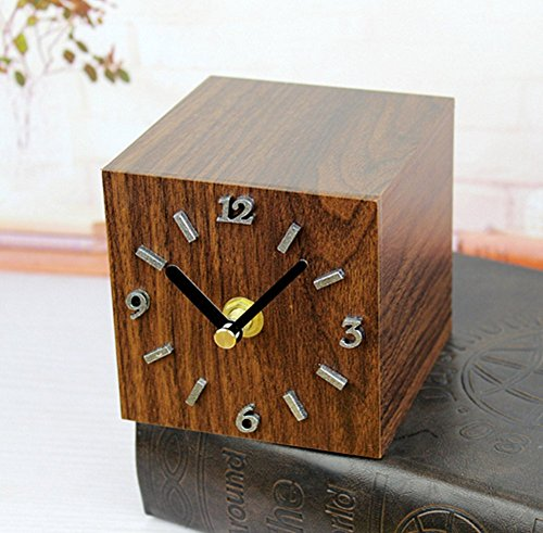 BemodstR European Pastoral Retro Creative Wood Square Desk Clock Bedroom Office Pendulum Pecan