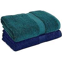 Trella 100% Cotton 500 GSM Large Cotton Bath Towel Set - 2 Piece :: 140 x 70 cm (Green Blue)