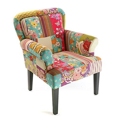 Versa 19500260 Sillón tapizado Pink Patchwork, 89x71x72 cm, Rosa, Butaca, Sofá