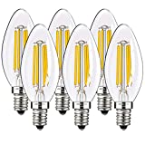 E14 LED Candle Light Bulbs 40W Equivalent Tungsten Halogen Replacement Warm White 2700K 4W Small Edison Screw Filament Candelabra Light Bulbs with 400 Lumens Non-Dimmable 6 Packs by COOWOO