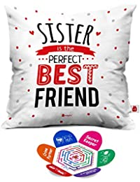 Indigifts Indibni Sis Is Best Friend Quote Printed White Square Cushion Cover 12X12 With Filler