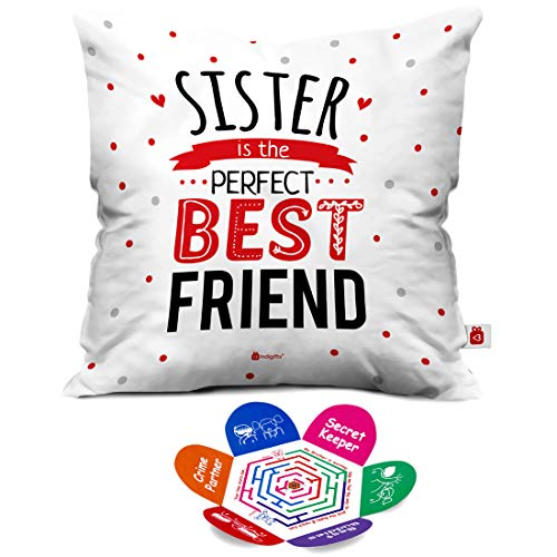 Indigifts Rakhi Gift For Sister Sis Is Best Friend Quote White Cushion Cover 16x16 Inches