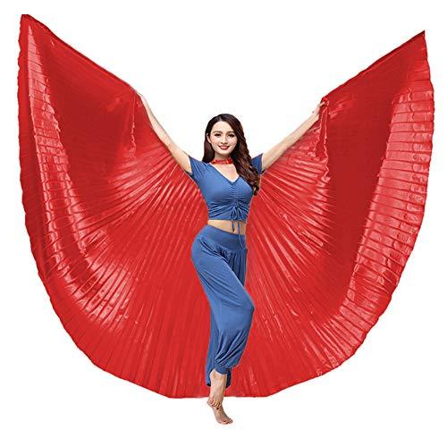 BellyLady Ägyptischer 360 Grad Flügel Isis Wings Bauchtanz Kostüm mit Stöcken Rot (Ägyptischer Bauch Tanz Kostüm)