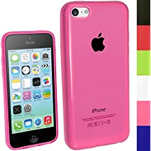 igadgitz Rosa Case TPU Gel Funda Cover Carcasa para Nuevo Apple iPhone 5C 4G LTE + Protector de pantalla (No apto para iPhone 5 & 5S)