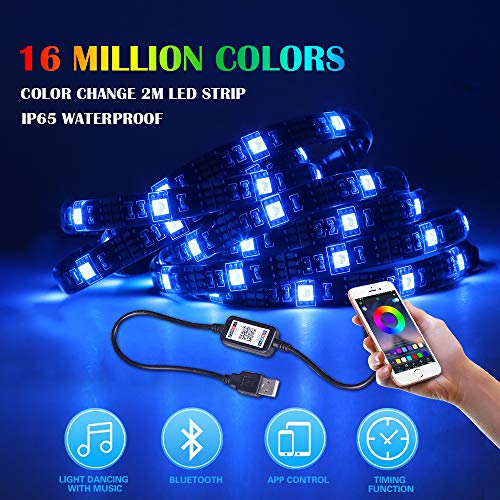 Etmury LED TV Hintergrundbeleuchtung,USB Led Strip, Bluetooth App Gesteuert/Musik Induktion, 16 Millionen Color Wasserdicht Offset Heimkino Beleuchtung 2 M Für 40 Bis 60 Zoll HDTV (Musik-tv)